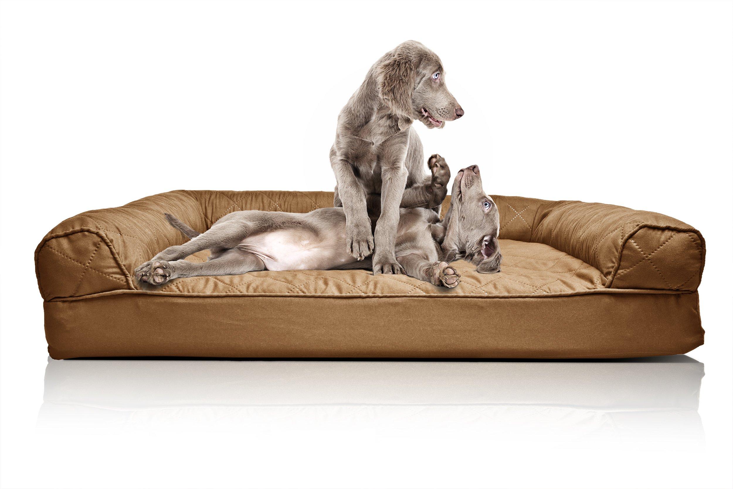 FurHaven Orthopedic Dog Sofa Bed Pet Bed Warm Brown Jumbo