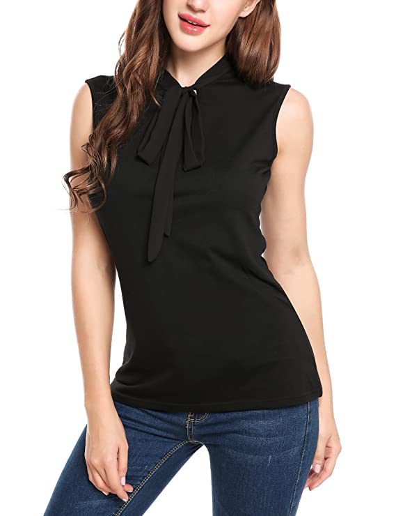 729112f0b998a4 Beyove Women Tie-Bow Neck Sheer Sleeveless Tank Top Summer Blouse Black XXL  at Amazon Women s Clothing store