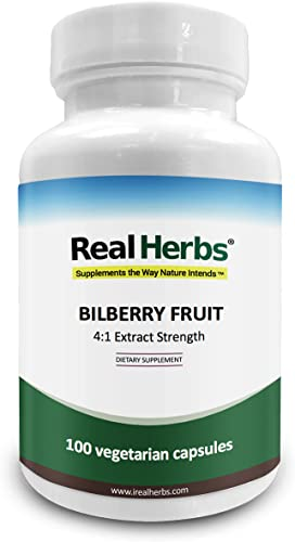 Real Herbs Bilberry Extract – Derived from 1,500mg of Bilberry Fruit with 4 1 Extract Strength – Promotes Vision Blood Circulation, Improves Cardiovascular Health – 100 Vegetarian Capsules