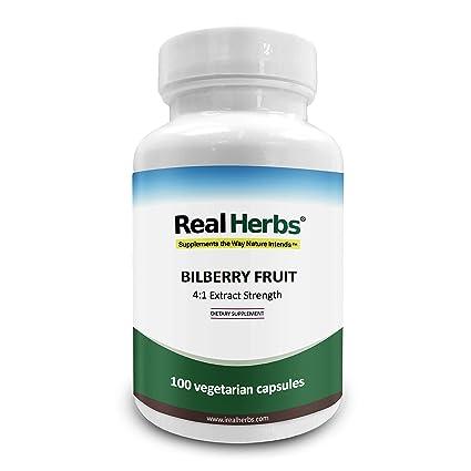 Real Herbs Fruta del arándano 4: 1 Extracto 375 mg - 100 cápsulas vegetarianas