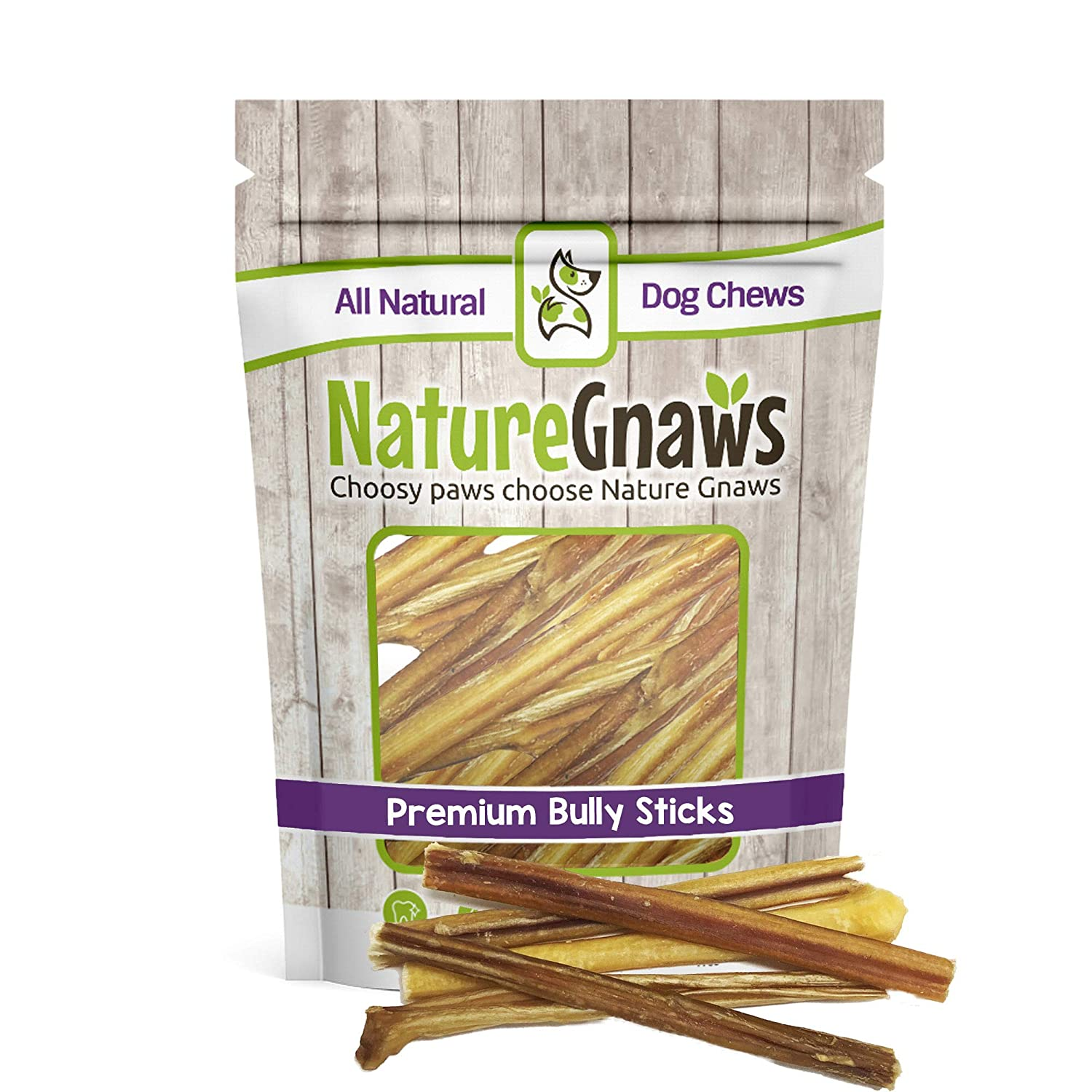Extra Thin 5-6\ Nature Gnaws Extra Thin Bully Sticks 5-6  (25 Pack) 100% All-Natural Grass-Fed Free-Range Premium Beef Dog Chews