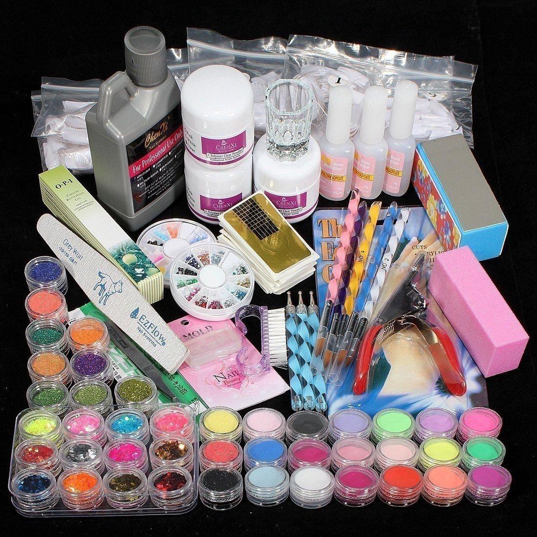 42 Acrylic Powder Liquid Brush Glitter Clipper Primer File Nail Art Tips Set Kit G for U