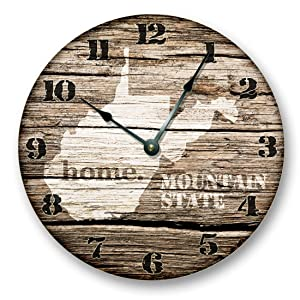 """WEST VIRGINIA STATE HOMELAND CLOCK -MOUNTAIN STATE - Large 10.5"""" Wall Clock - Printed Wood Image- WV_FT"""