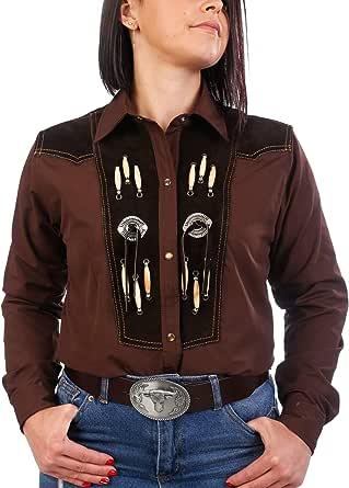 Last Rebels - Camisa Country Line Dance, para Mujer, Color marrón, Adorno amerindio, Piel Hueso y Conchas: Amazon.es: Ropa y accesorios