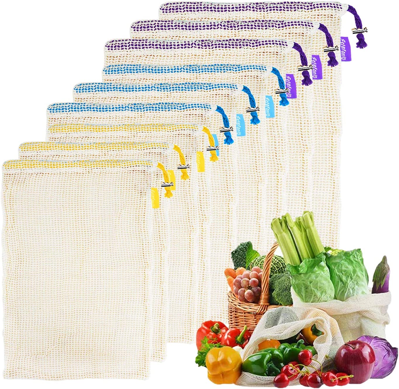 Estefanlo Premium Reusable Produce Bags Food Grade Washable Mesh Produce Bag Eco-Friendly Lightweight Grocery Bags for Grocery Shopping Storage Fruit Vegetable and Toys 3 Sizes (Set of 9 Cotton Bags)