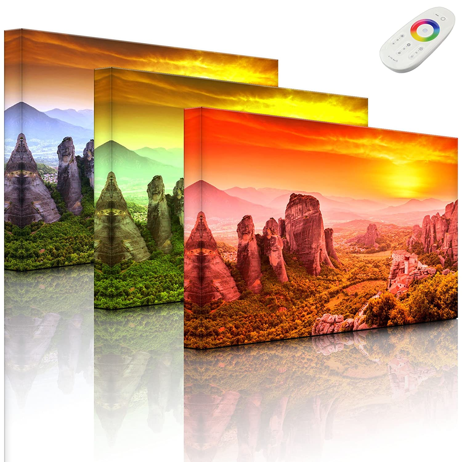lightbox-multicolor.com Wall picture with LED - houses in the rocks - 60 x 40 cm - front lighted Rossteutscher GbR
