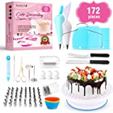 Cake Decorating Supplies 172 Pcs/Baking Supplies Kit/Beginner Baking Tools   Piping Bags and Tips, Icing Spatula, Turntable Cake Stand, Frosting Smoother, Cupcake Decorating Kit by Buddy Pro