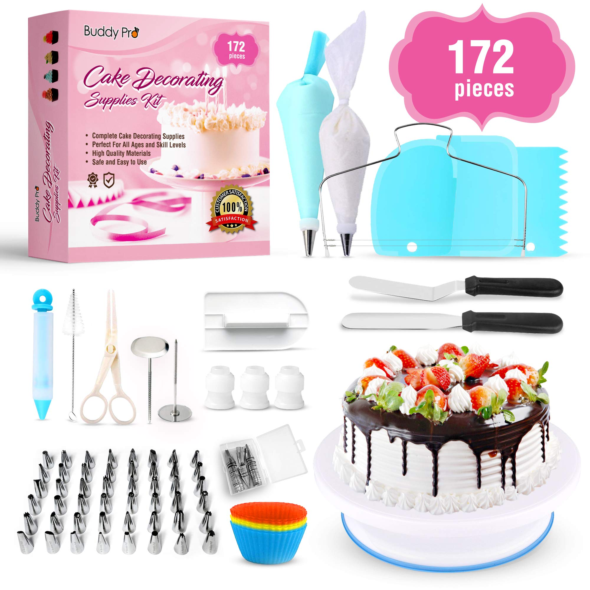 Cake Decorating Supplies 172 Pcs/Baking Supplies Kit/Beginner Baking Tools | Piping Bags and Tips, Icing Spatula, Turntable Cake Stand, Frosting Smoother, Cupcake Decorating Kit by Buddy Pro by Buddy Pro