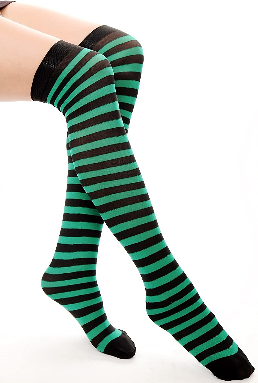 DRESS ME UP Calze Donna Overknees Nero Verde A righe A strisce Z159
