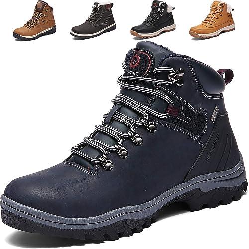 f7094335120f02 SIXSPACE Herren Winterstiefel Warm Gefütterte Winterschuhe Outdoor  Schneestiefel Wanderschuhe Rutschfeste Arbeitsschuhe Winter Boots (Blau 40