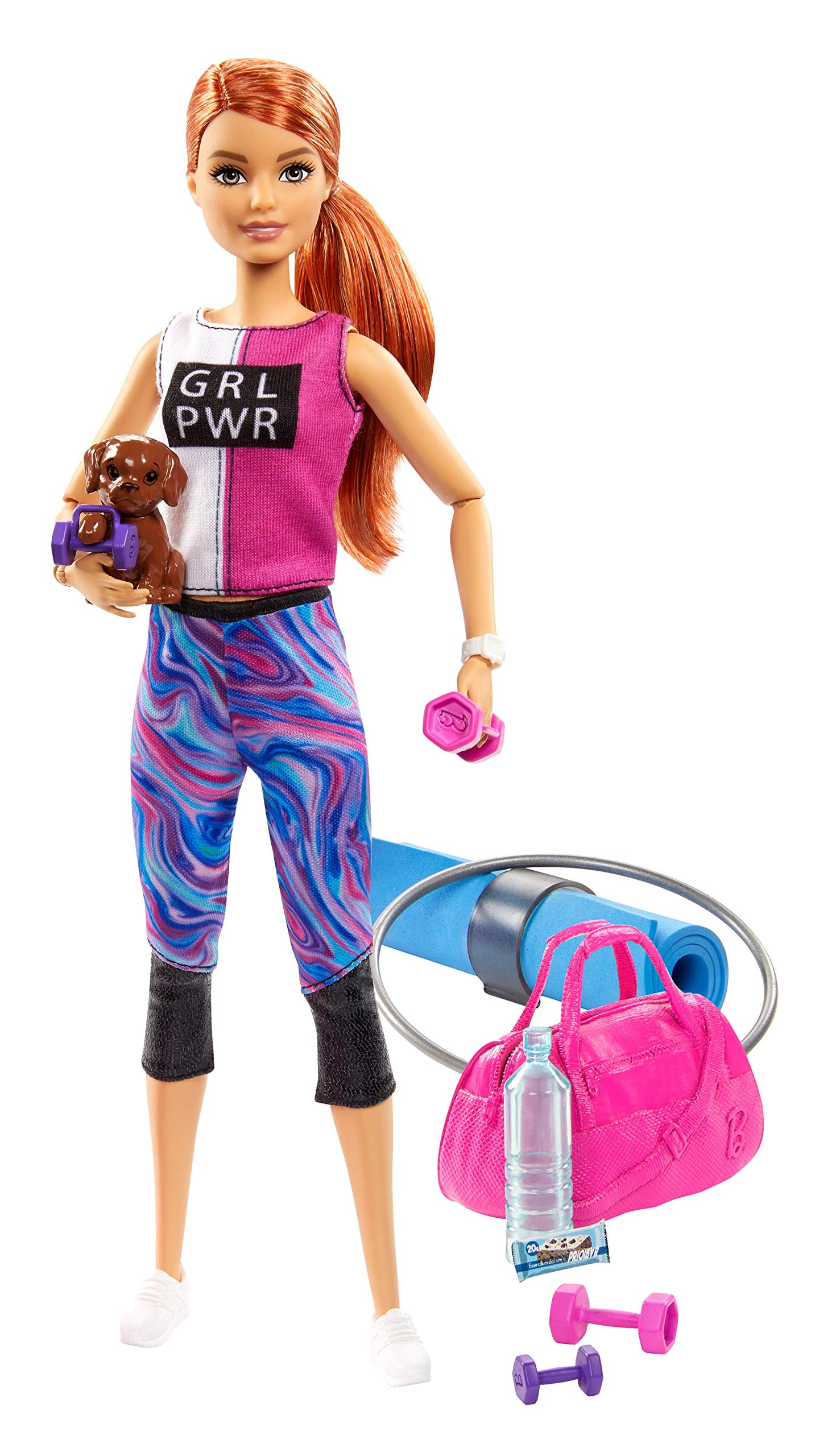 Barbie Fitness Doll, Red-Haired, with Puppy and 9 Accessories, Including Yoga Mat with Strap, Hula Hoop and Weights, Gift for Kids 3 to 7 Years Old