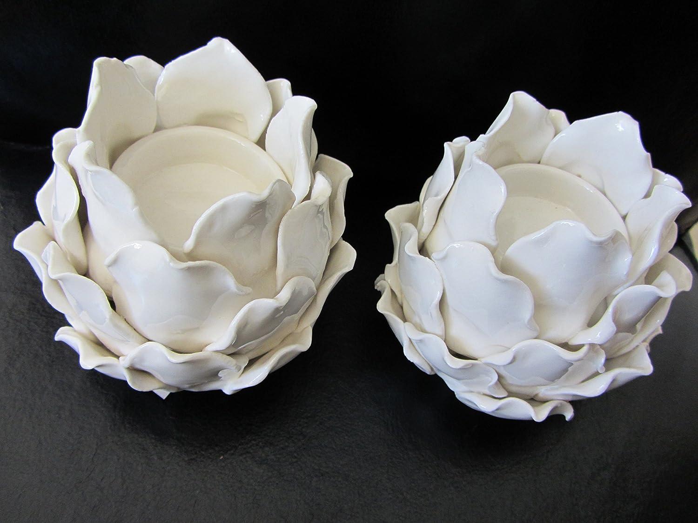 White Artichoke Tea Light Holder Gisela Graham