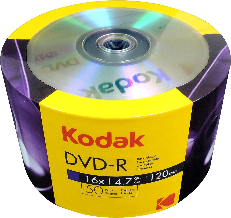 KODAK Paquete de 50 DVD-R de Marca para no Imprimir 16X: Amazon.es: Electrónica