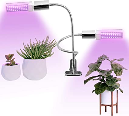Amazon Com Full Spectrum Led Grow Light For Indoor Plants 45w Equivalent Dual Head Lamp With Adjustable Gooseneck And Rotatable Bulb Grow Lamp For Indoor Garden Flowers Vegetables Bonsai Tree Succulent