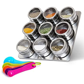 stainless steel magnetic spice jars  u2013 bonus measuring spoon set  u2013 airtight kitchen storage containers  u2013 amazon com  stainless steel magnetic spice jars   bonus measuring      rh   amazon com