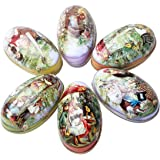 QNDREZ 6pcs Different Design Wedding Supplies Candy Packaging Box Tin Easter Day EggS Random Color 4.3*2.6*2.7 inch