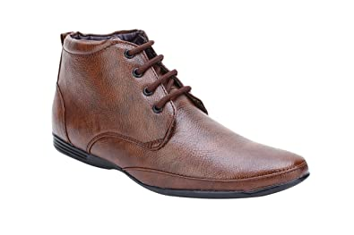 e680dd46b5 Image Unavailable. Image not available for. Colour: Smoky Brown High Ankle  Formal Shoes for Men