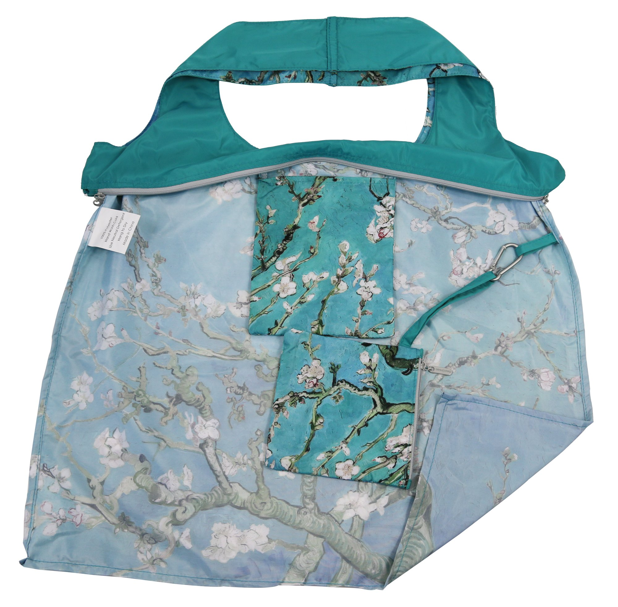 Reusable Grocery Bags with Zipper Closure,Foldable into Zippered Pocket … (Apricot tree) by BeeGreen (Image #3)