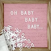 Pink Changeable Letter Board Set With 10 x 10 inch American Oak Frame, Pink Felt, 360 Precut Letters and Emojis, Wall Hook and Bag - Perfect Message Sign For Girl Baby Shower Decorations
