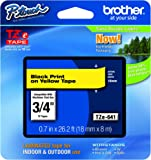 "Brother P-touch Genuine TZe-641, ~3/4"" (0.7"") Black on Yellow Standard Laminated Tape –26.2 ft(8m) (TZE641)"