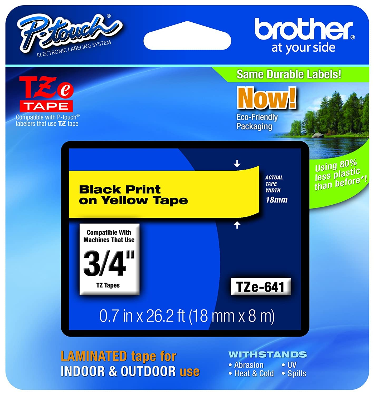 Brother TZE 345 Ruban 18 mm Blanc/Noir TZE345