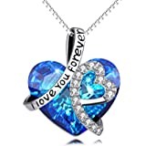 """Sterling Silver """"I Love You Forever"""" Heart Pendant Necklace with Swarovski Crystals - Jewellery for Women"""