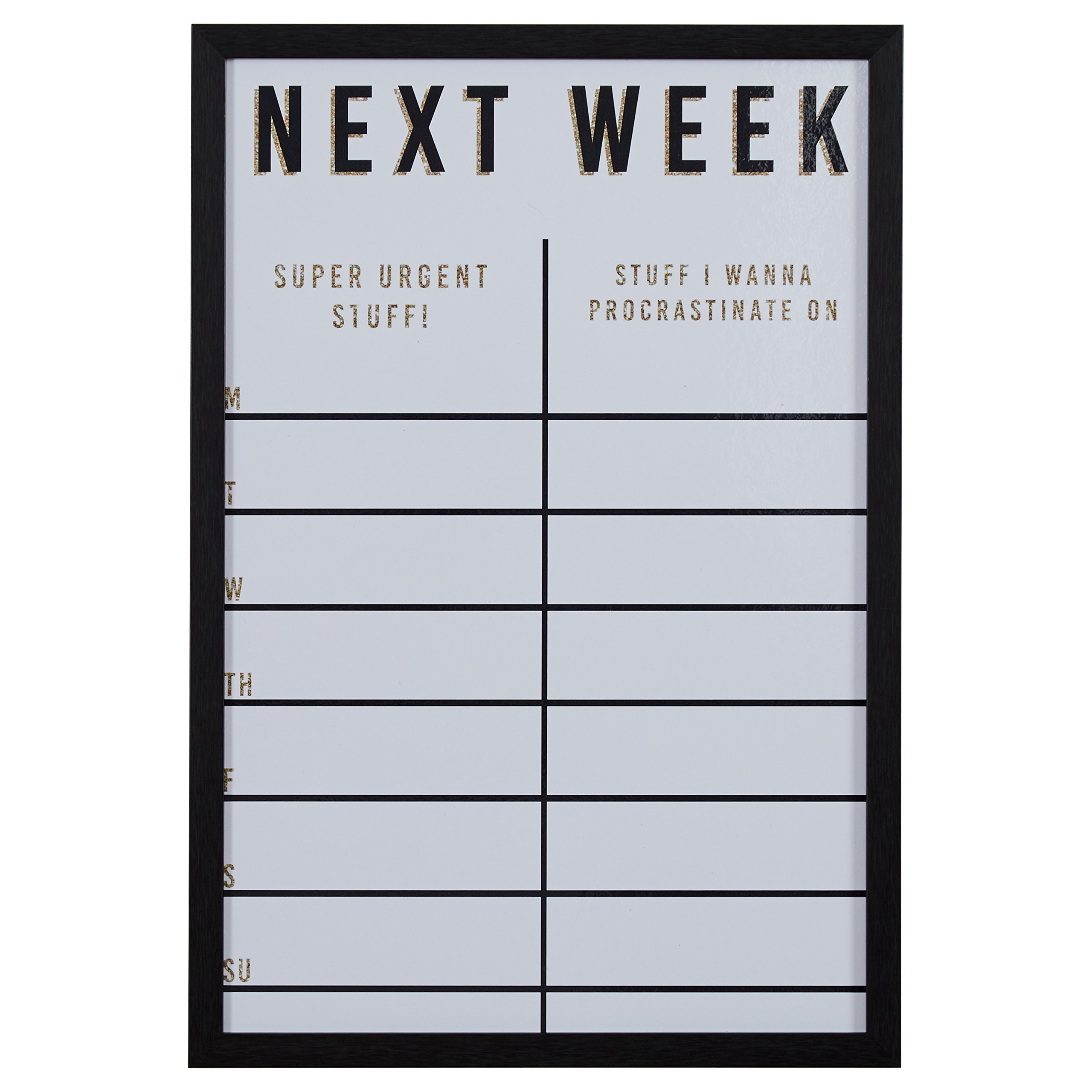 "Modern Next Week Gold Glitter Dry Erase Board, 16"" x 24"""