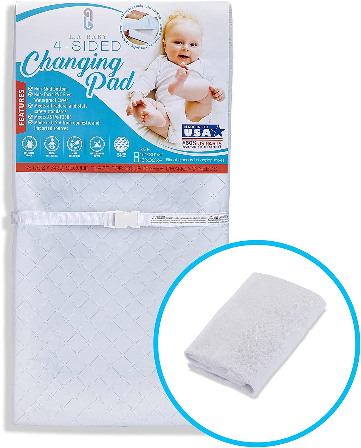 LA Baby Combo Pack with 30'' 4 Sided Changing Pad and White Terry Cover by LA Baby