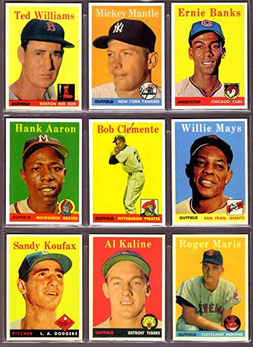 1958 Topps 9 Card Baseball Reprint Lot 1 Including Ted Williams