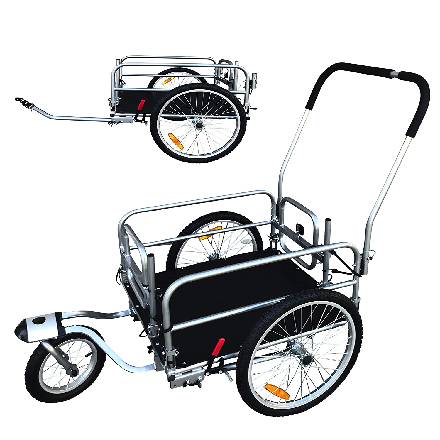 """2 in 1 20"""" Wheels Cargo Utility Stroller and Bicycle Bike Trailer Beach Cart Silver Chrome"""