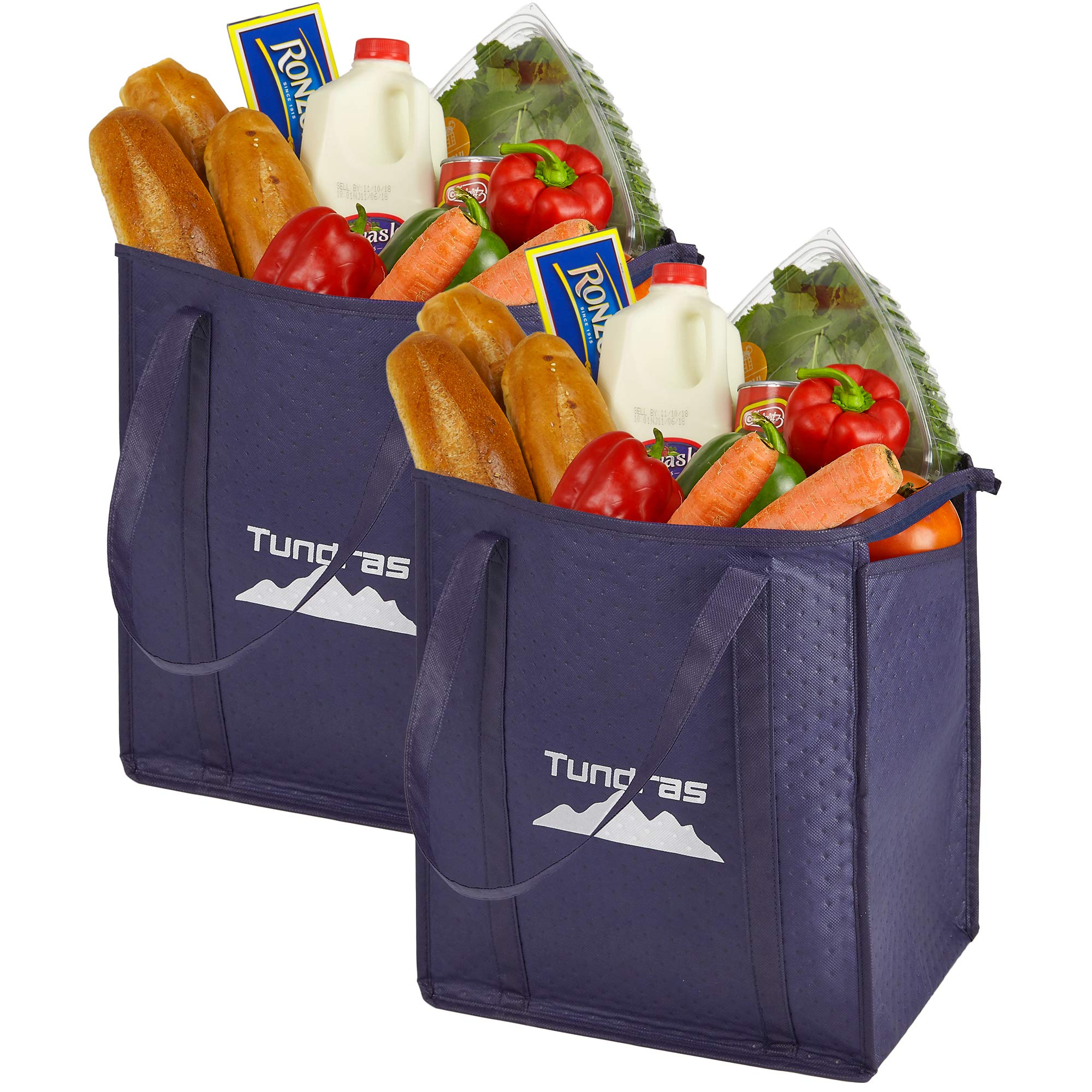 Reusable Grocery Bags, Insulated – 2 Pack, Navy – 7.5 Gallon Thermal Cooler Tote – Reinforced Handles, Zipper Closure, Collapsible Tote Folds Flat – For Shopping, Hot and Cold Food insulated lunch bag