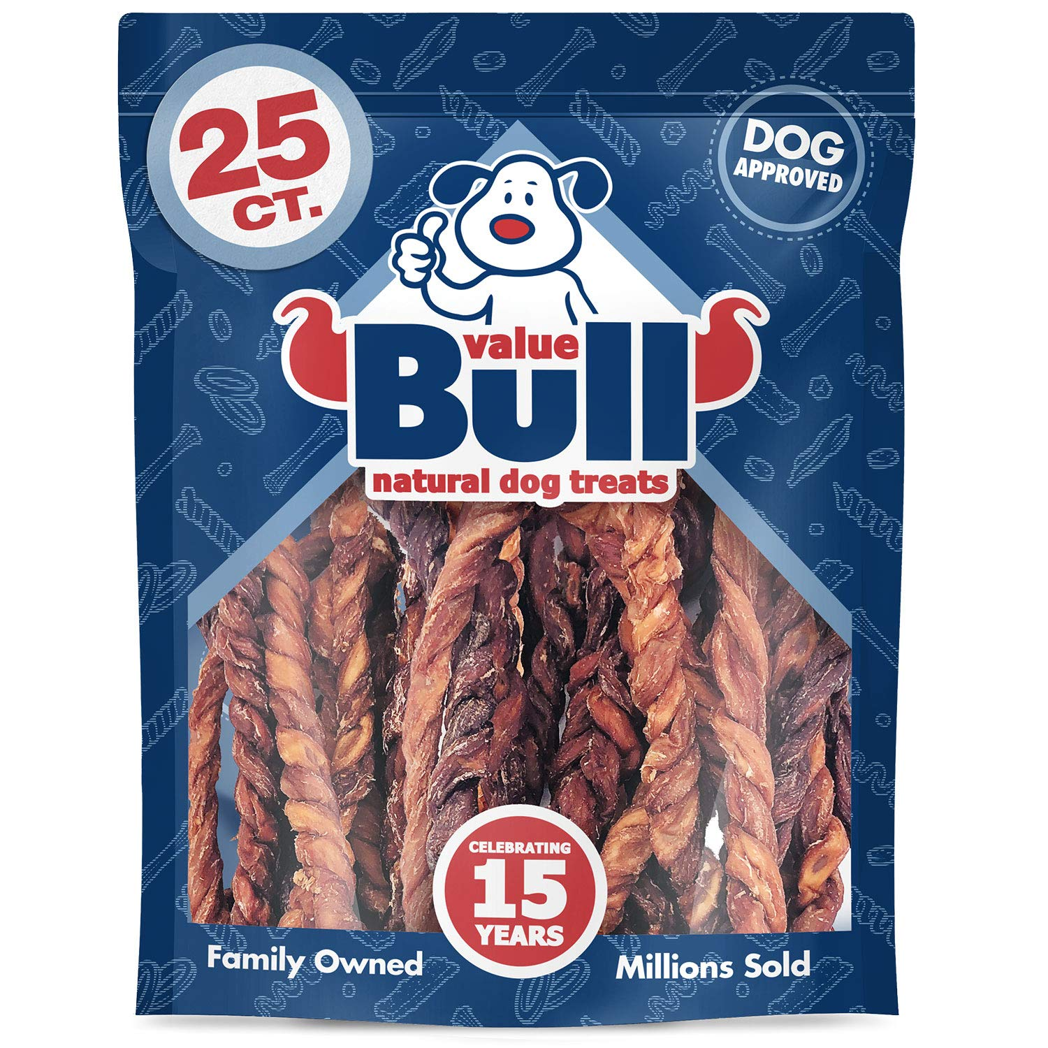 ValueBull USA Twisted Lamb Weasand Dog Chews, 25 Count