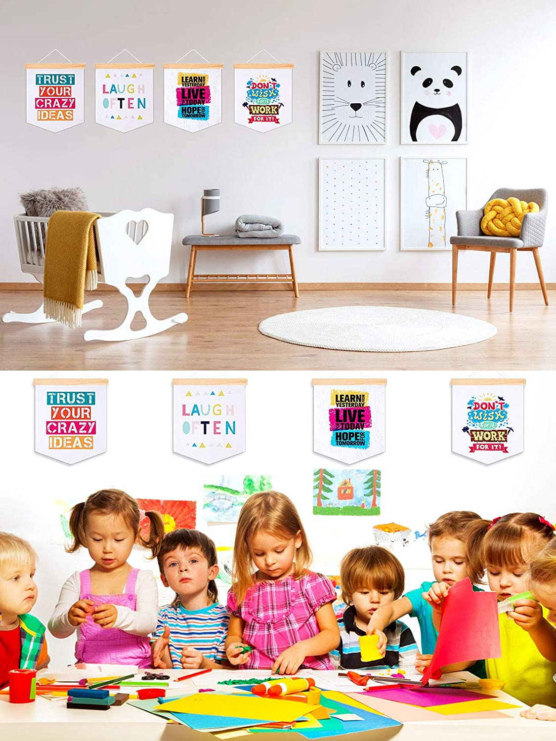 CINPIUK Inspirational Quote Hanging Banner Wall Poster for Nursery Home Classroom Decoration