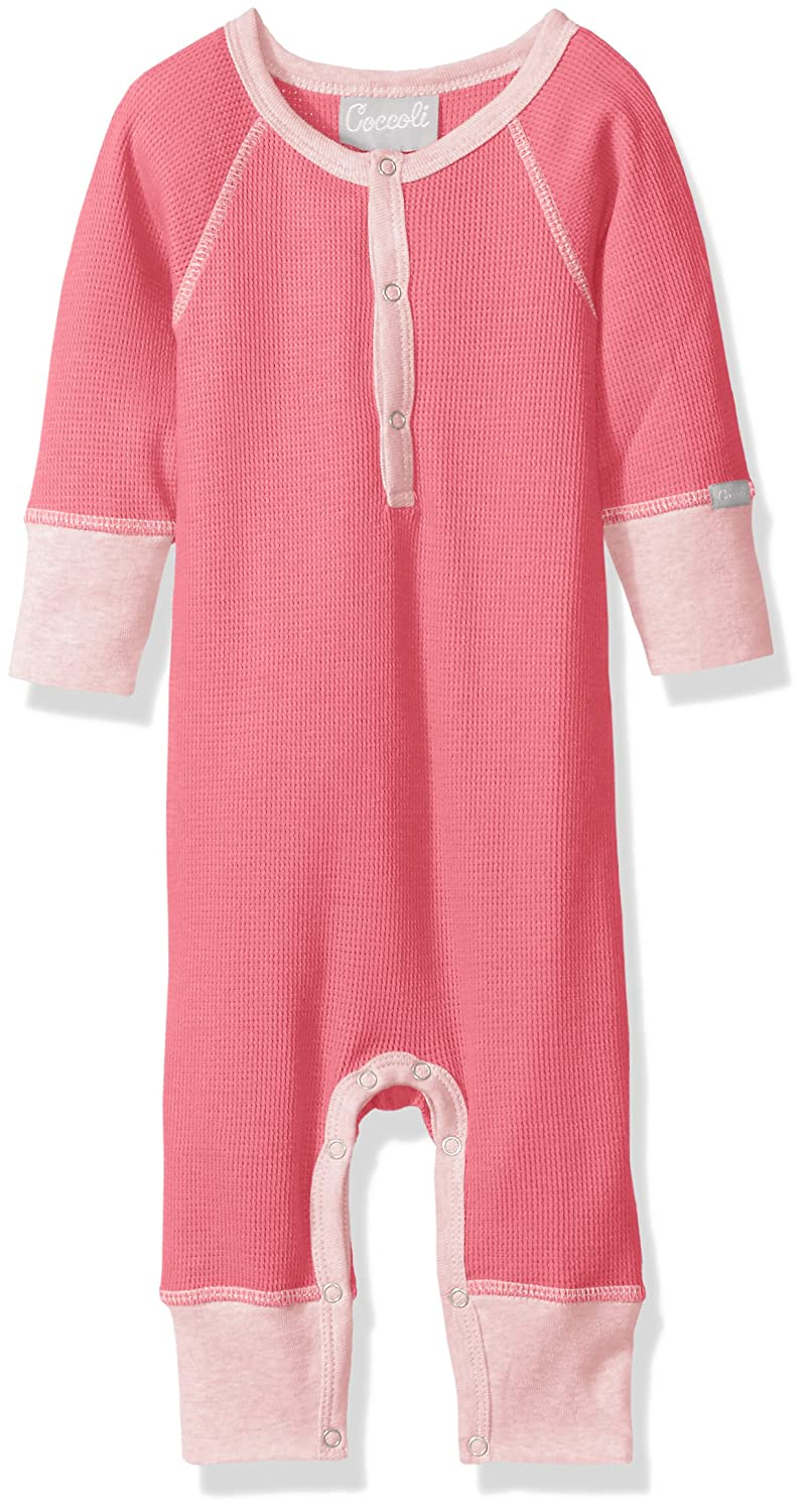 5e1b2edb0 Amazon.com  Coccoli Baby Girls  Pink Waffle Knit Cotton Unionsuit  Clothing