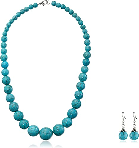 turquoise color Howlite jewelry set