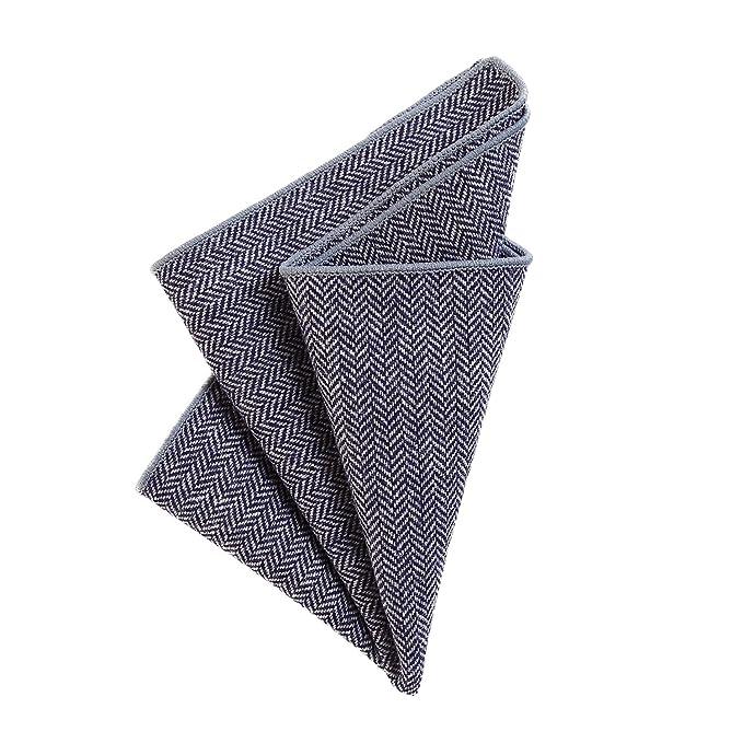 DonDon Pañuelos de bolsillo hombre de 23 x 23 cm de algodón look tweed a cuadros