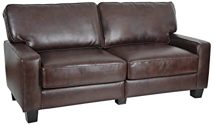 Serta RTA Palisades Collection 73u0026quot; Bonded Leather Sofa In Chestnut  Brown