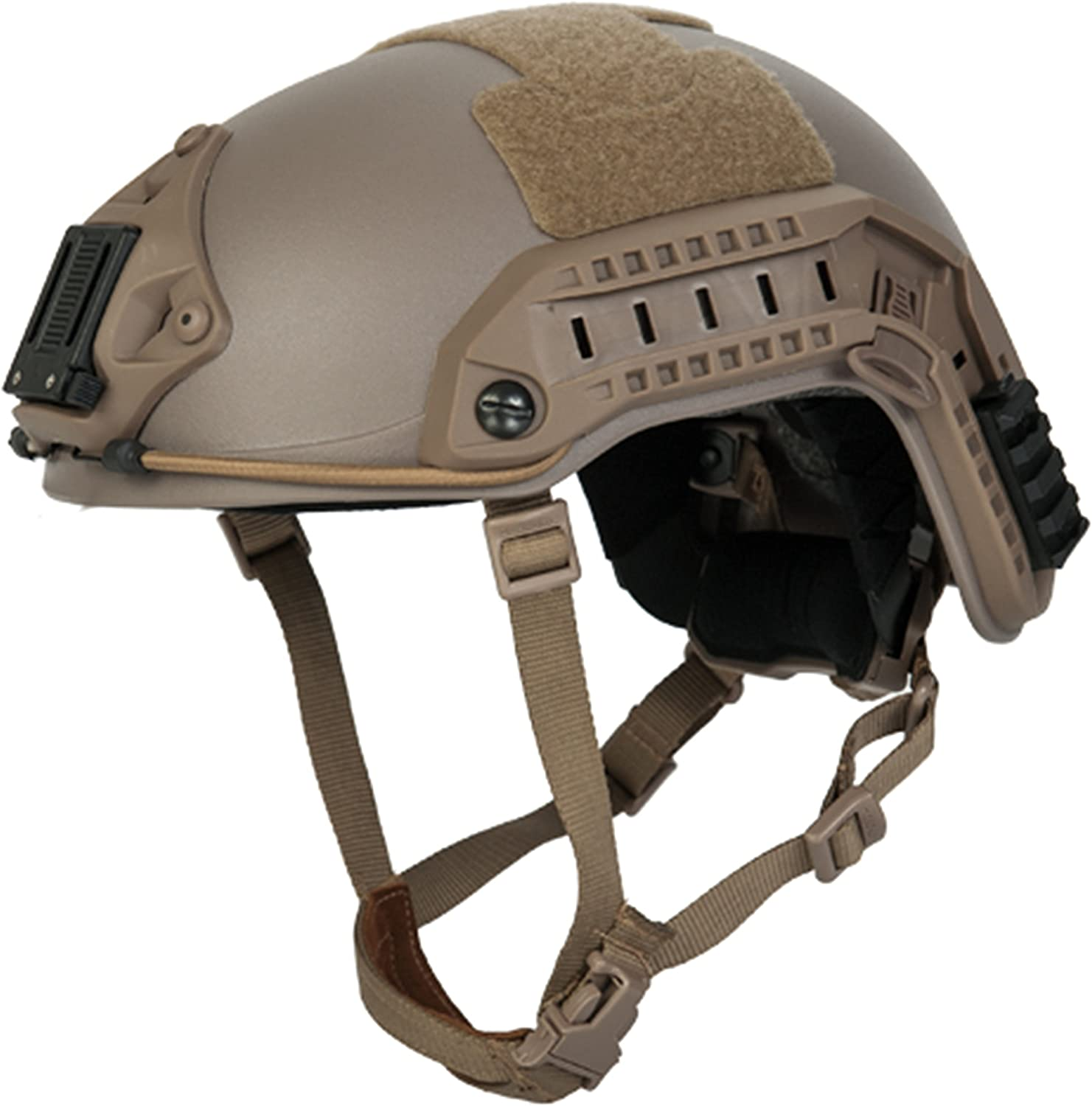 This is the image of the Lancer Tactical Maritime Helmet, with straps hanging, in brown color. Image has a white background color.