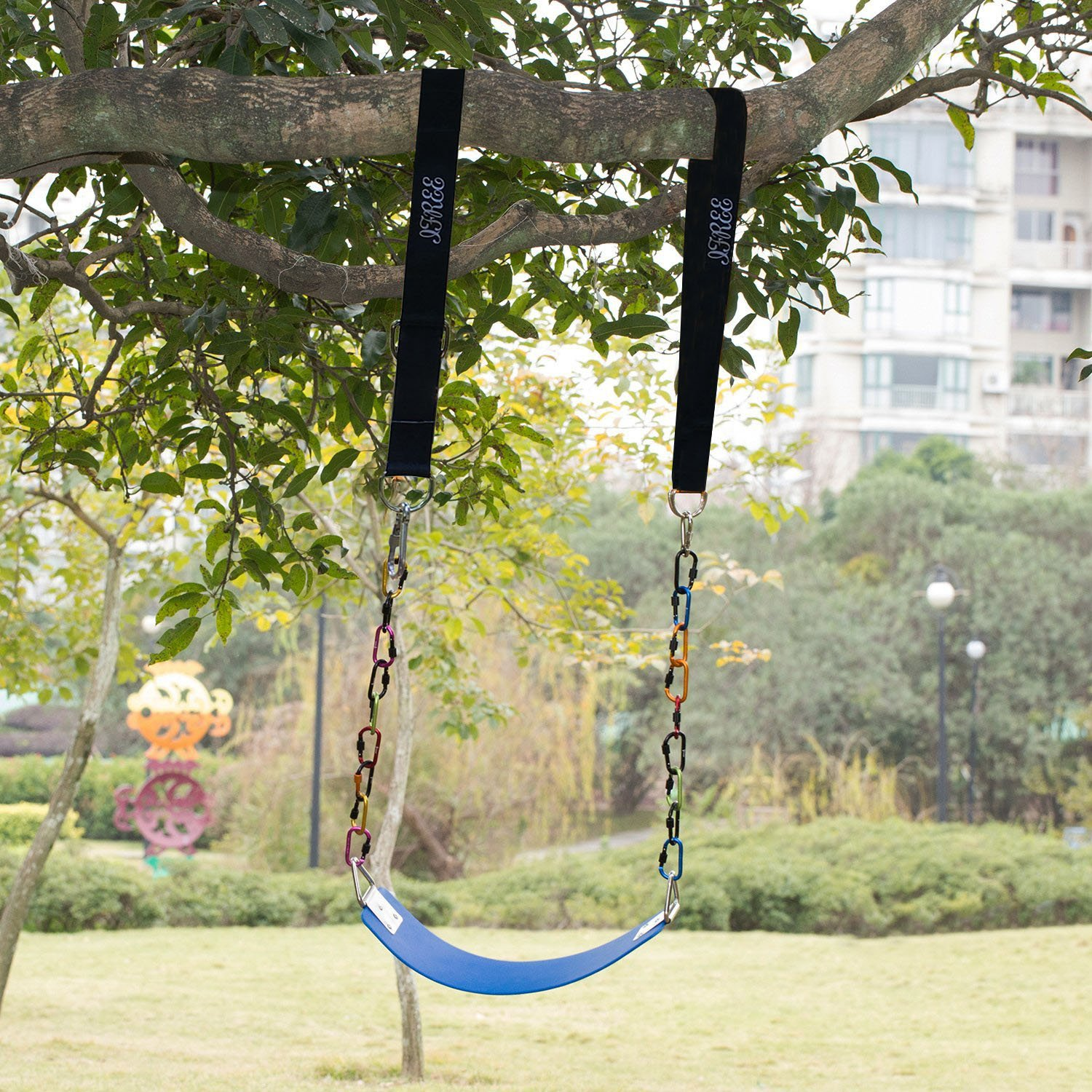 IFREE Tree Swing Straps Set, Safety Swing Handing Rope, Easy & Fast Swing Hanger Installation to Tree, Holds up to 1760 Pounds Swing Tie With 2 Strap & Snap Stainless Steel Carabiner Hooks- Black by IFREE (Image #2)