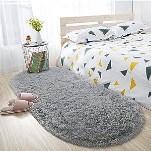 ISEAU Oval Fluffy Rug Carpets, Modern Plush Shaggy Area Rug for Kids Bedroom Extra Comfy Cute Nursery Rug Bedside Rug for Boys Girls Room Home Decor Mats, 2.6 x 5.3ft, Grey