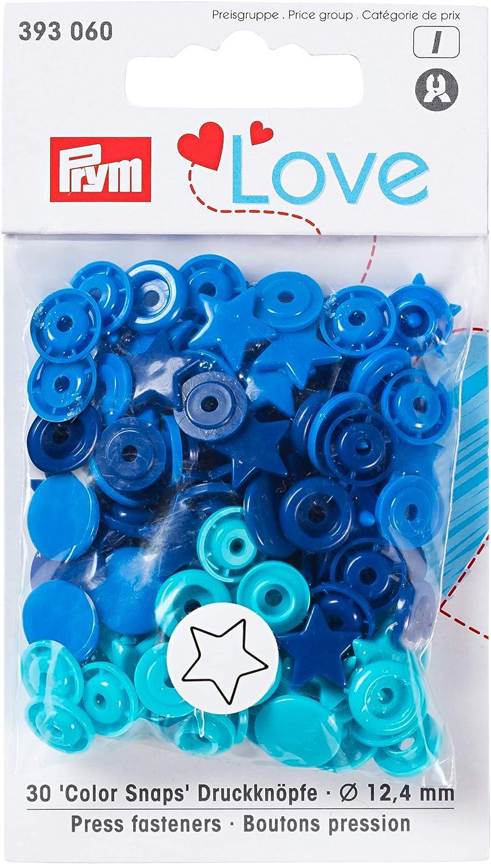 Botones a presión Que no se cosen ColorSnaps PrymLove con Forma de Estrellas de plástico, Azul, Turquesa, Azul Marino 30 Unidades de 12,4mm