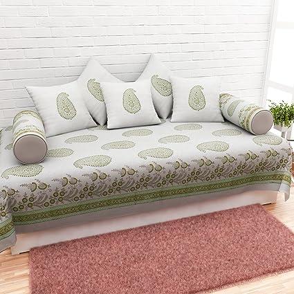 Cloth Fusion 120TC Cotton Vintage Handblock Diwan Kiyari Design-Set (Beige) - Set of 8 Pieces