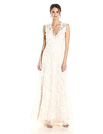 Tadashi Shoji Womenu0027s SLVS V Neck Embroidered Gown Wedding Dress,  Ivory/Petal,
