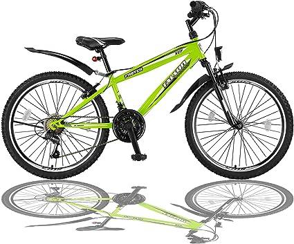 Talson 24 Zoll Mountainbike Fahrrad Mit Gabelfederung Beleuchtung 21 Gang Shimano Fstr Grun Amazon De Sport Freizeit