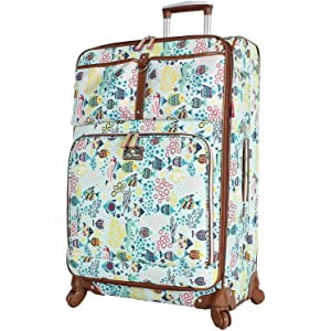 8cd94702f8 Lily Bloom Luggage Large Expandable Design Pattern Suitcase With Spinner  Wheels For Woman (Aquarium Life