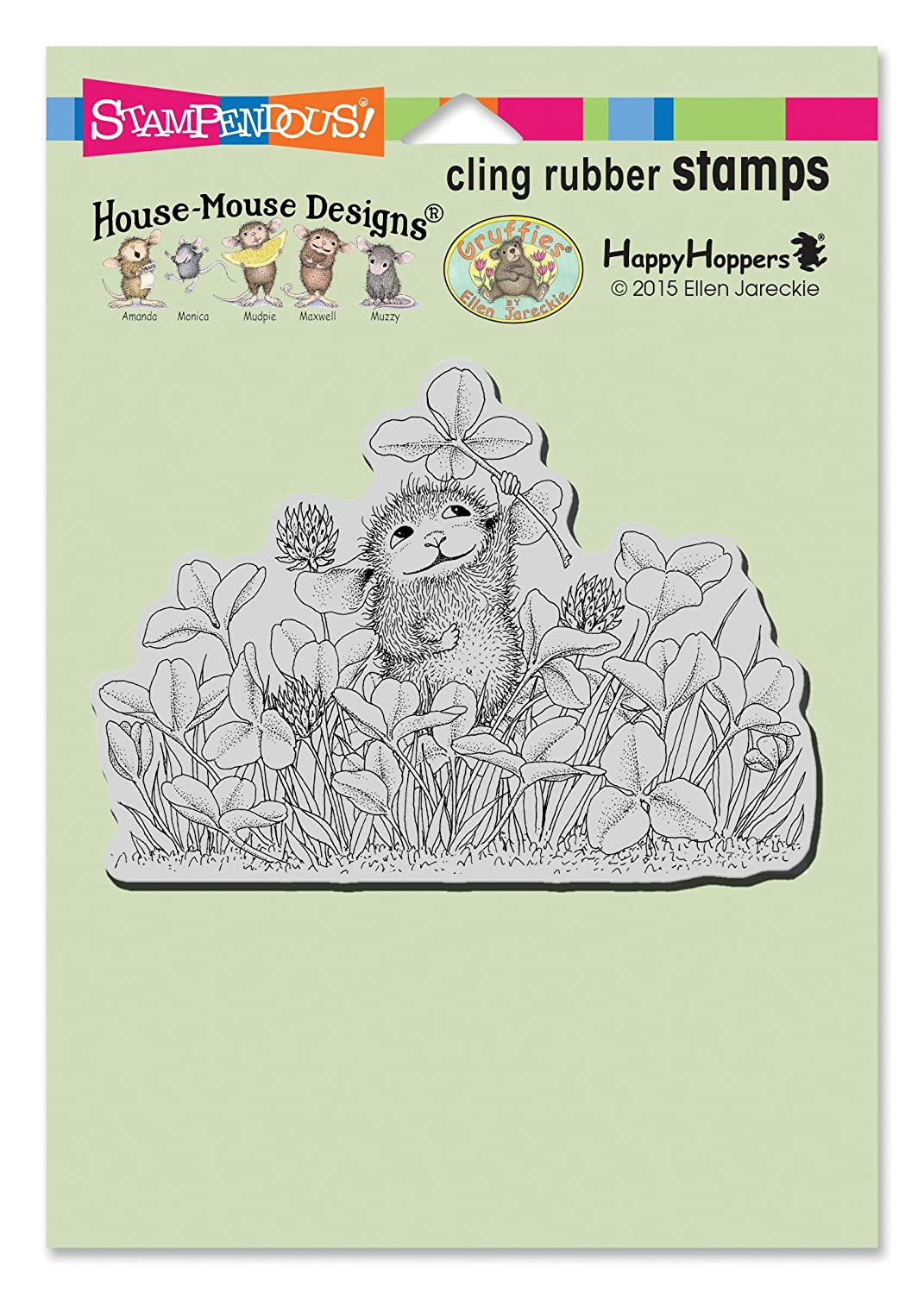Stampendous House Mouse Cling Rubber Stamp Lucky Clover HMCP86