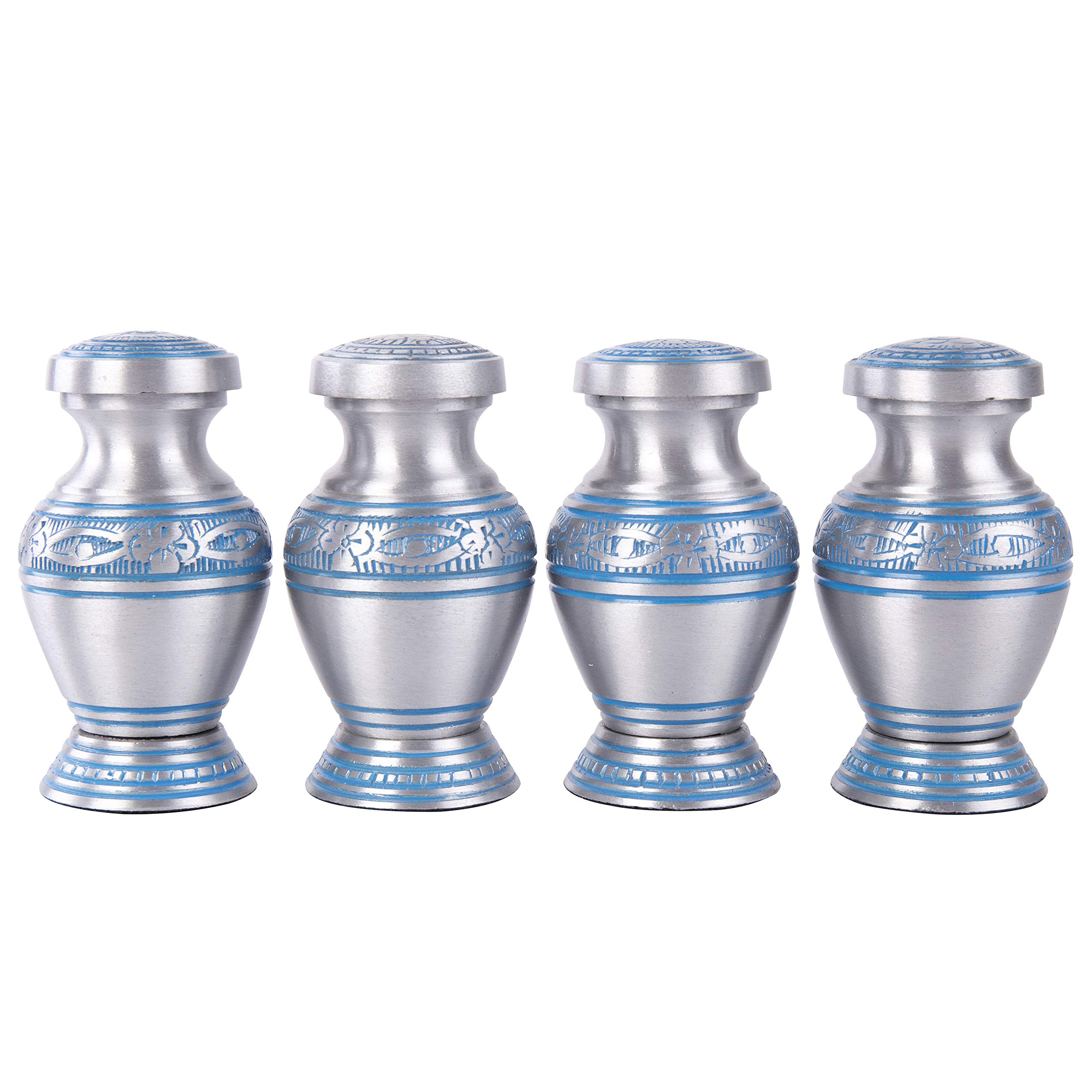 GSM Brands Keepsake Cremation Urns (Set of 4) - Mini Funeral Memorials in Silver Design with Box Meant for Sharing of Token Amount of Ashes (3 Inch by 2 Inch) by GSM Brands