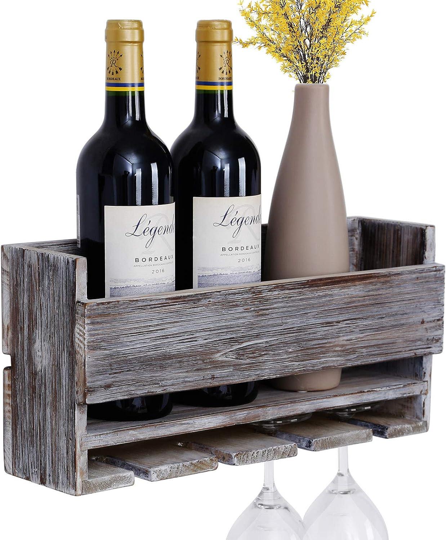 Vencipo Estantería de Vino de Pared de Madera para Organizador 4 Copas Vino Almacenaje, Estante Flotante Decoracion para Cocina de Armarios Vino, ...