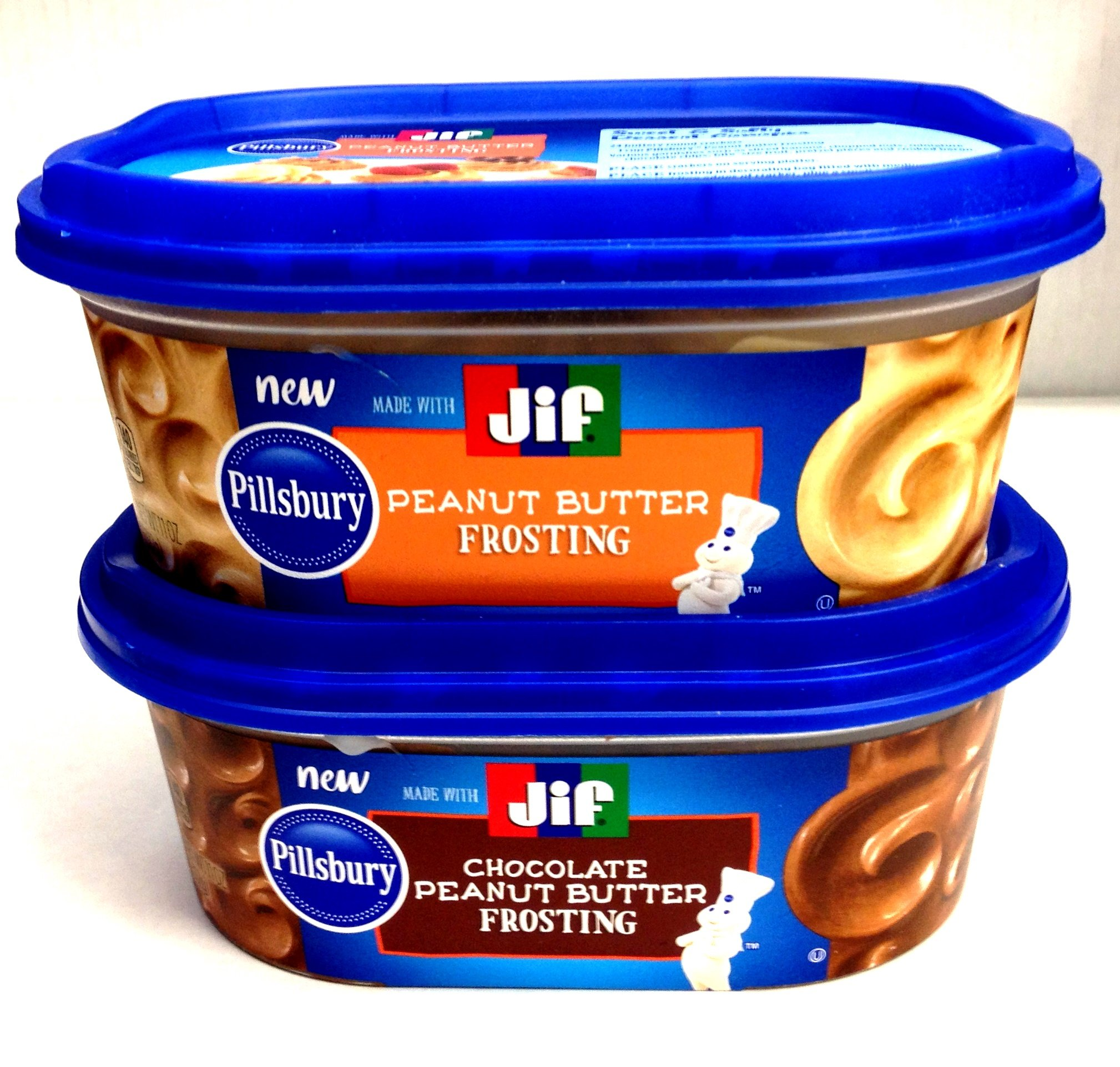 Pillsbury-Jif PEANUT BUTTER FROSTING Variety 4-Pack, 2 containers each of: PEANUT BUTTER FROSTING; CHOCOLATE PEANUT BUTTER FROSTING + BONUS Set of Heavy Duty Plastic Utensils by Pillsbury