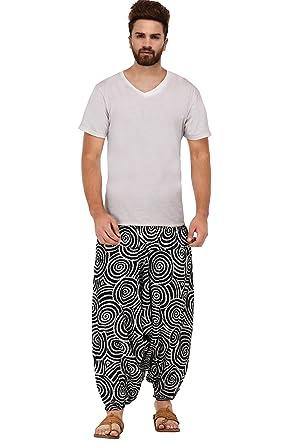 e8d55e6e8f Kiara Mens Womens Boho Hippie Baggy Gypsy Cotton Harem Pants with Pockets -  Spiral Design